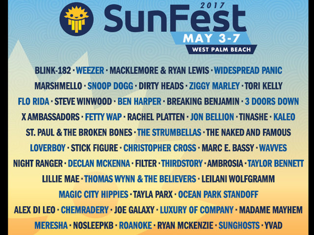 SunFest organizers release music lineup