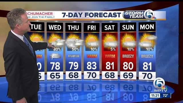 Latest  Weather Forecast 11 p-m- Monday