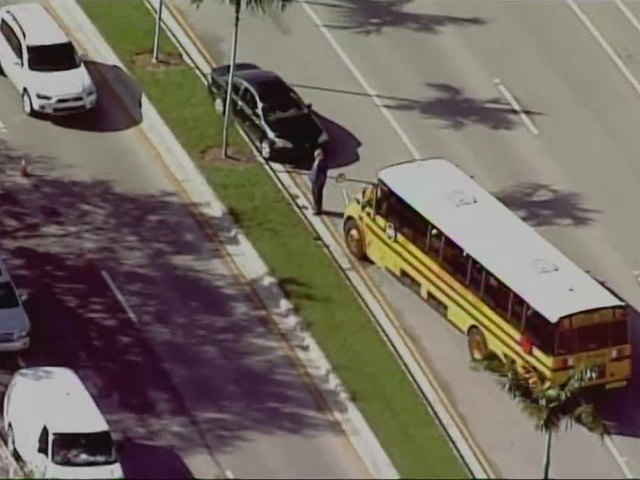 Vehicle and bus collide