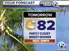 Breezy, isolated shower tonight