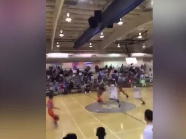 Half-court buzzer beater at Polo Park Middle School in Wellington