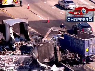 PHOTOS: Semi catches fire on Turnpike in PBC