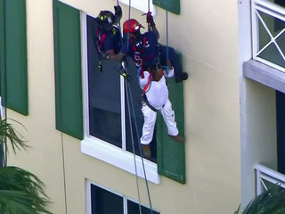 Hi-rise rescue after scaffolding collapse
