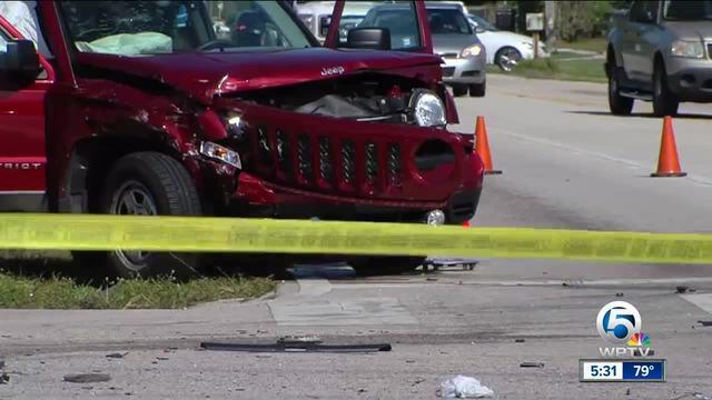 Three hurt in Palm Beach County crash