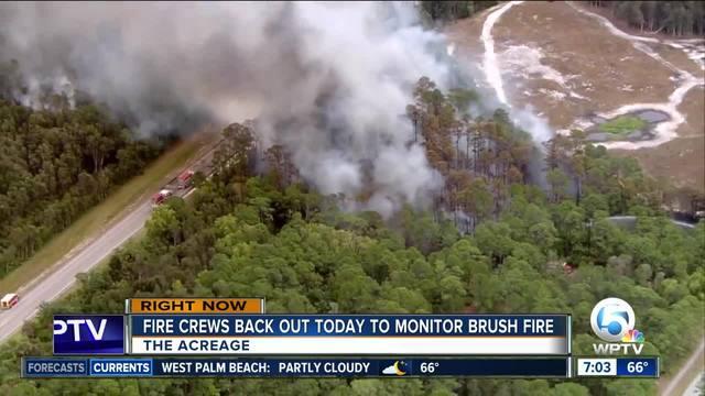 Firefighters Battle Brush Fire South Of Palm Beach Gardens