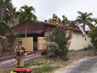 Gardens Firefighter Hurt Battling House Fire