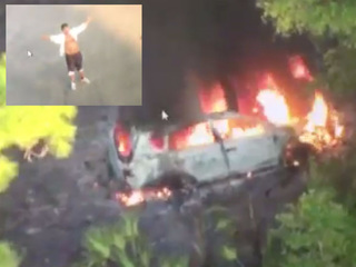 Man stole car then torched it while on the run