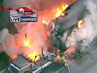 PHOTOS: Semi engulfed by fire on Turnpike