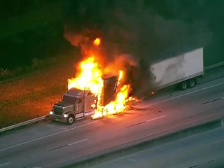 Semi engulfed by fire on Florida highway
