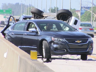 Rollover crash blocks lanes on the Fla. Turnpike