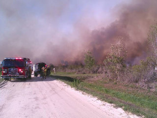 Crews battle brush fire in Okeechobee County