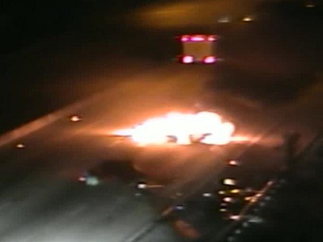 1 person hurt in fiery Turnpike crash