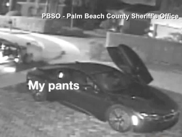 Man loses pants during car burglary as surveillance camera rolls