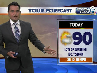 Partly sunny and warm with isolated showers