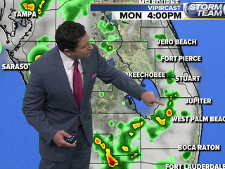 Scattered afternoon rain, hot and humid