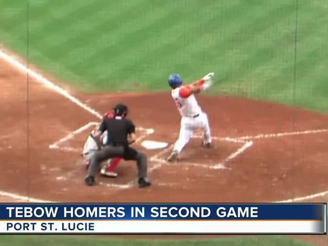Tim Tebow smacks home run in 2nd game for St- Lucie Mets