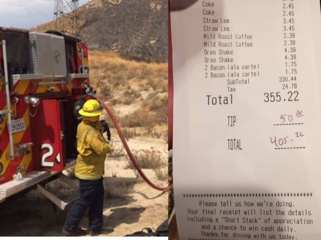 Anonymous woman pays $400 dinner bill for firefighters who battled California wildfire