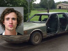 Man drives doorless car with ax through roof