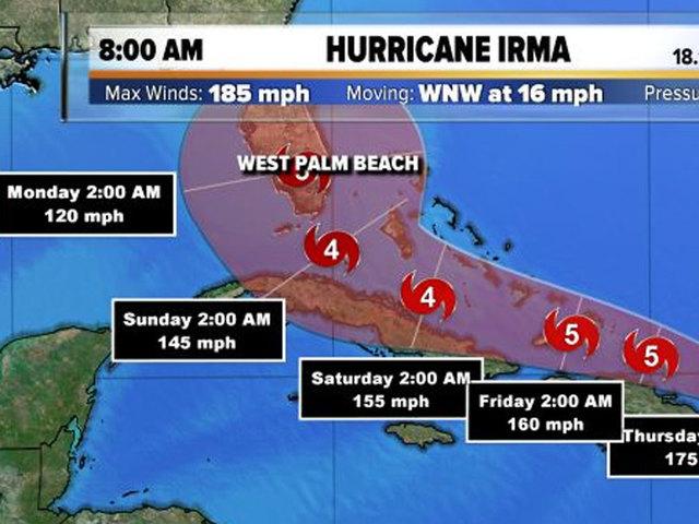 Hurricane Irma churns over Caribbean Island Barbuda on way to Florida