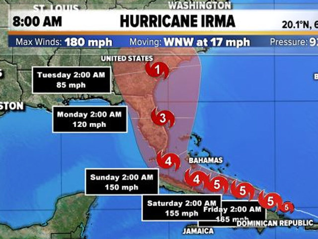 At 8 a.m. Thursday Category 5 Hurricane Irma's maximum sustained winds remain at 180 mph with higher gusts