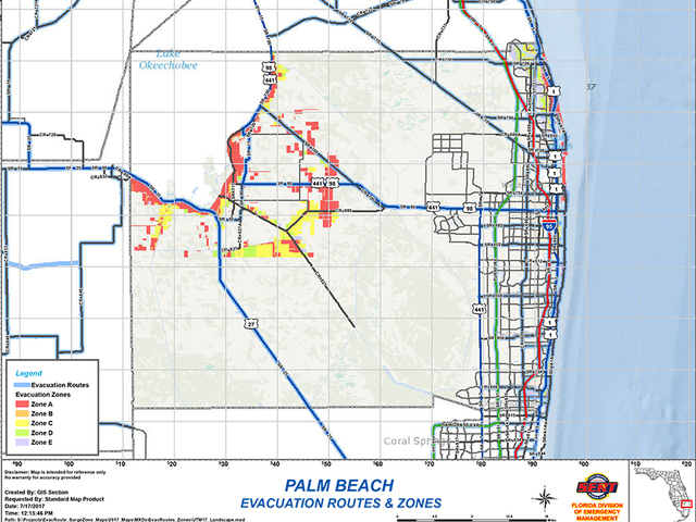 storm surge maps, evacuation routes for palm beach county