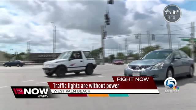 Police remind motorists to use caution and treat intersections without functioning traffic lights as four-way stops
