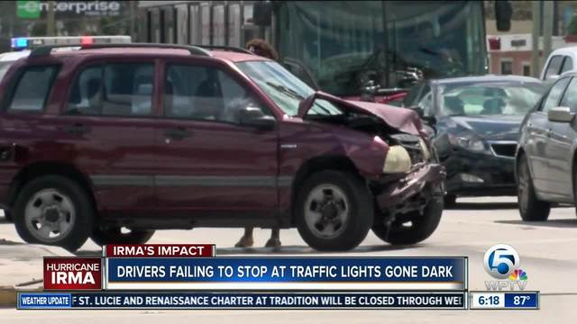 Drivers are failing to stop at intersections where traffic lights aren't functioning