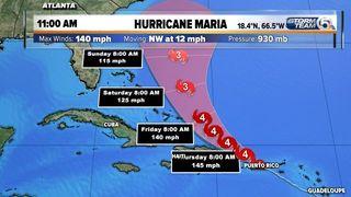 Hurricane Maria's core moving over Puerto Rico