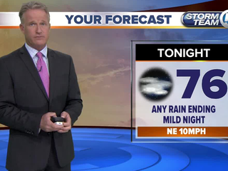 Low rain chances on the coast and breezy
