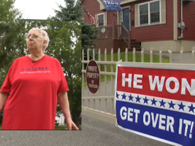 Woman: I'd rather go to jail than take down Trump sign