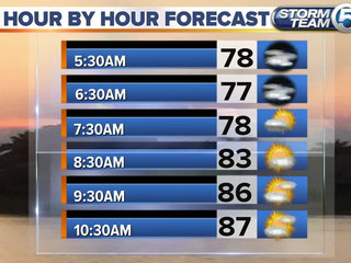 Partly sunny and hot with scattered rain