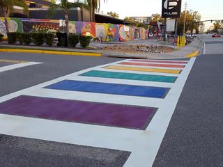 Rainbow-colored crosswalk finished near Pulse