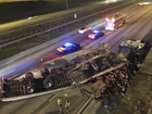 Semi truck drives through overpass in Florida
