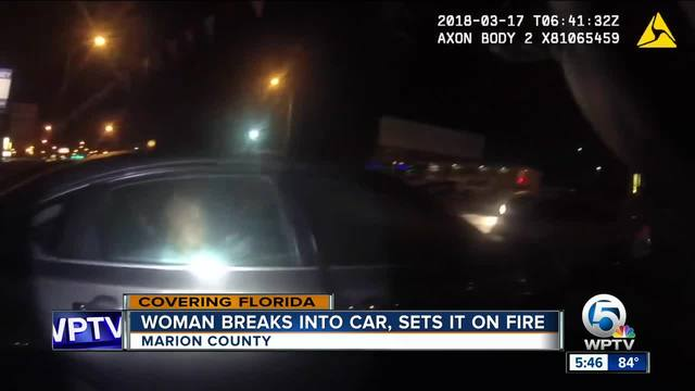 Florida woman breaks into car at dealership- gets trapped after setting fire