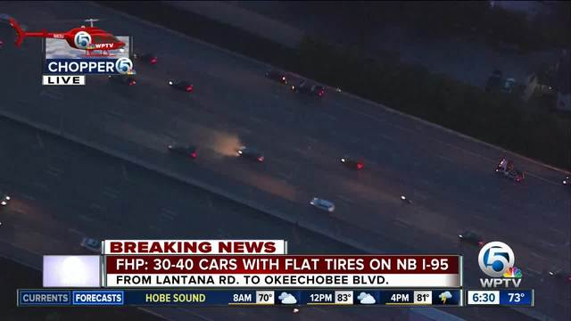 30 to 40 vehicles have flat tires on I-95 in Palm Beach County