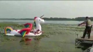 Deputies rescue women stranded on unicorn raft