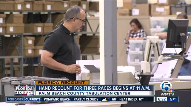 Palm Beach County expected to begin manual recount at 11 a-m-