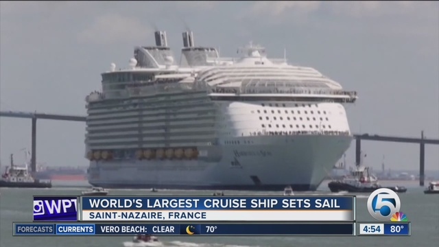 Worlds Biggest Cruise Ship Sets Sail From France Wptvcom - Largest cruise ship of the world