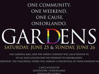Gardens Mall Holding Weekend Fundraiser For Orlando Shooting Victims