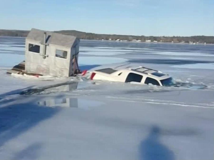 Video Truck Falls Through Ice In Wisconsin Wptv Com
