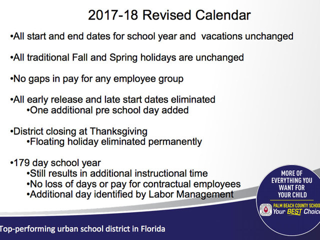 Palm Beach County School District considering calendar ...
