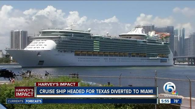 Hurricane Harvey Forces Cruise Ship To Dock In Miami Wptvcom - Docked cruise ship