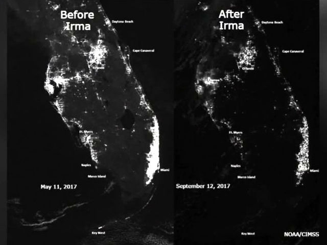Satellite Photos Show Florida Power Outages From Space Due To Irma
