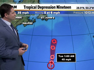 Tropical depression 19 forms in central Atlantic