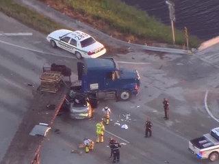 PHOTOS: Semi, car crash near South Bay
