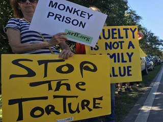 Protesters gather outside Monkey Jungle