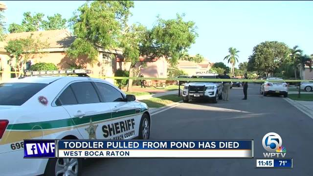 Toddler pulled from pond in West Boca Raton dies