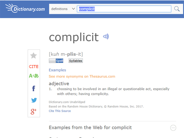Dictionary.com chooses 'complicit' as its 2017 word of the year