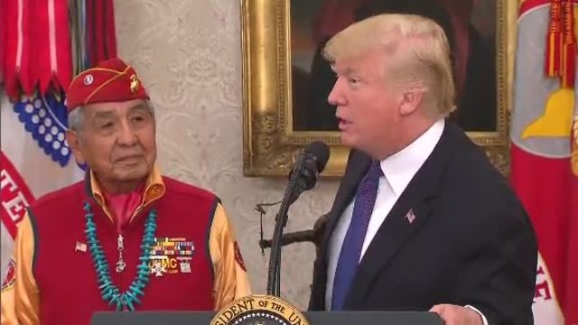 Trump makes 'Pocahontas' slur at Native American ceremony