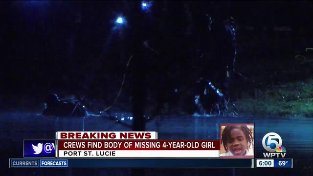 The body of a 4-year-old girl who went missing Saturday morning in Port St. Lucie was recovered from a pond near her family's house overnight